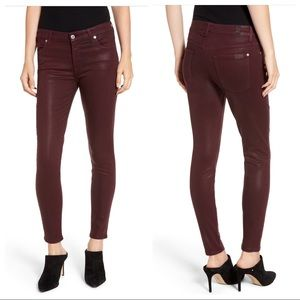 7 For All Mankind Burgundy Skinny Coated Jeans 29